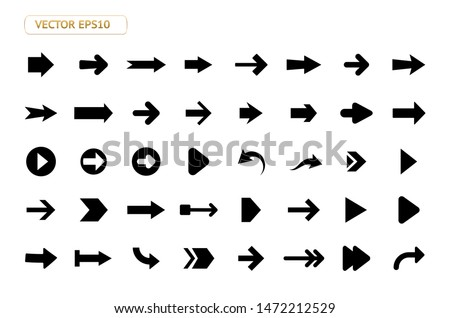 Arrow vector icon isolated set on white background. Button arrow infographic vector icon next, previous, pointer design digital element collection. Vector arrow icon template. Download and down arrow