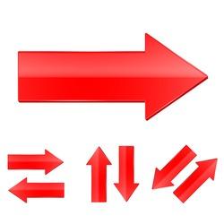 Arrow vector. Red icon.