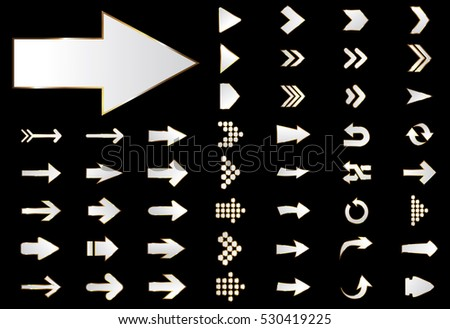 Arrow vector silver curve line up 3d button icon set interface symbol for app, web and music digital illustration design. Application isolated flat digital sign collection on black background