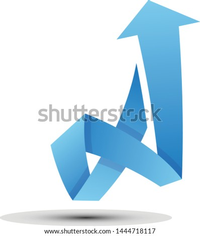 Arrow vector with elegant style and blue color. Arrow shaped letter A on the white background. Vector illustration EPS.8 EPS.10