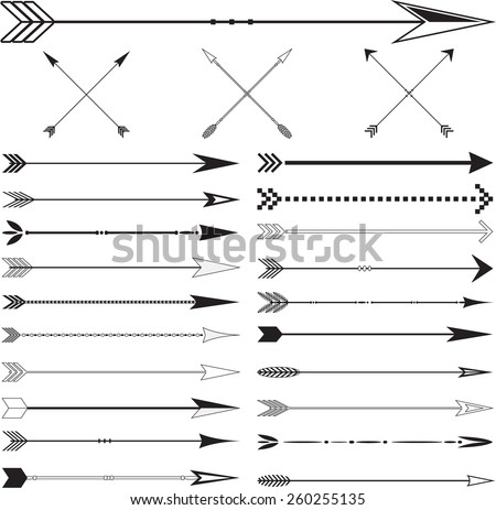 Arrow vintage page dividers Set in Vector on White Background #260255135