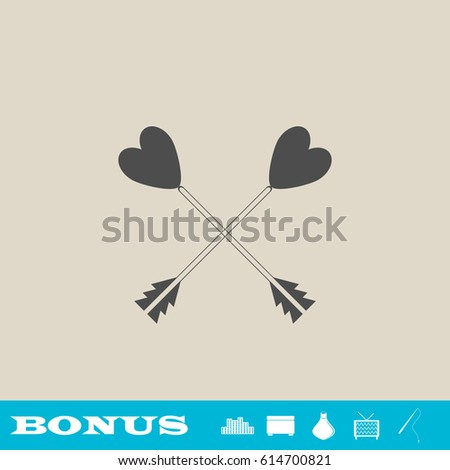 arrow with heart icon flat