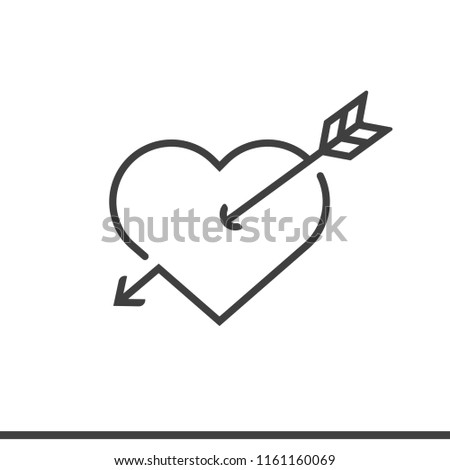 Arrow with heart icon line style vector image