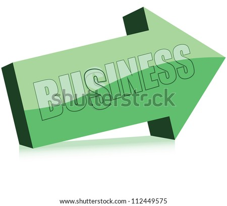 Arrow with the word damaged business. Vector illustration.