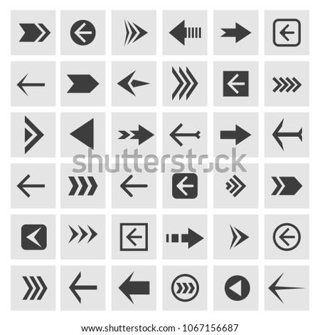 Arrowheads icons. Vector arrow glyphs or arrowhead signs for navigation, websites and buttons #1067156687
