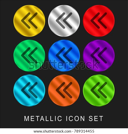 Arrowheads of thin outline to the left 9 color metallic chromium icon or logo set including gold and silver
