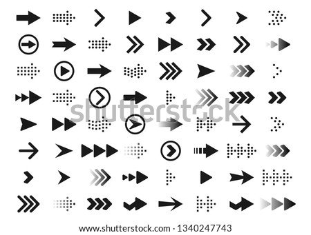 Arrows a large set of black arrows. Icons with arrows. Arrows pointers. Vector illustration