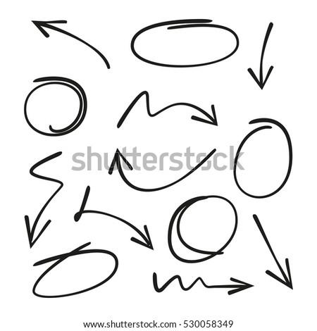 arrows and circles doodle writing design