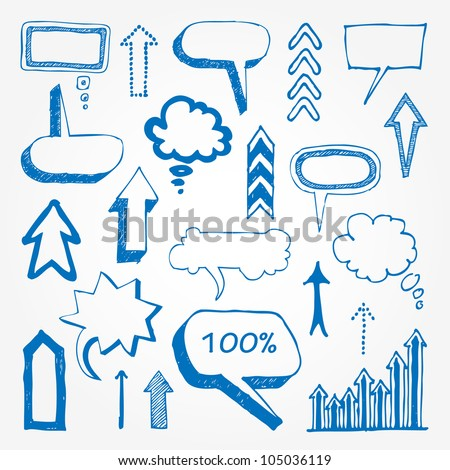 Arrows and speech bubbles set. Hand drawn sketch illustration isolated on white background