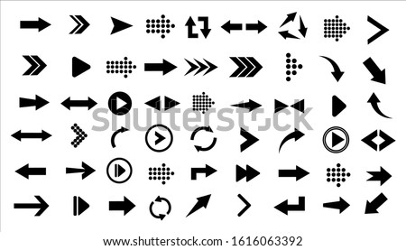 Arrows big black set icons. Arrow icon. Collection of concept arrows for web design, mobile apps, interface and more. Different black Arrows icons,vector set.