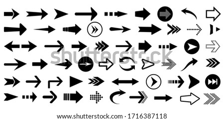 Arrows big black set icons. Arrow vector collection