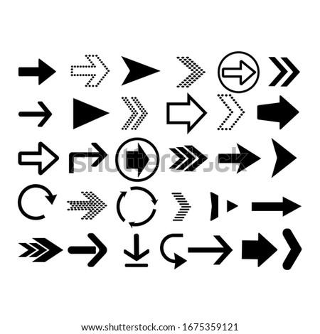 Arrows big black set icons. Arrow vector collection. Vector illustration
