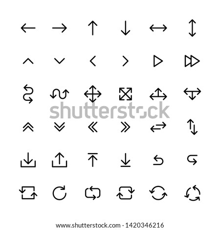 Arrows big black set icons in line style. Arrow icon. Arrow vector collection. Arrow. Cursor. Modern simple arrows. Vector illustration.