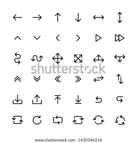 Arrows big black set icons in line style. Arrow icon. Arrow vector collection. Arrow. Cursor. Modern simple arrows. Vector illustration.