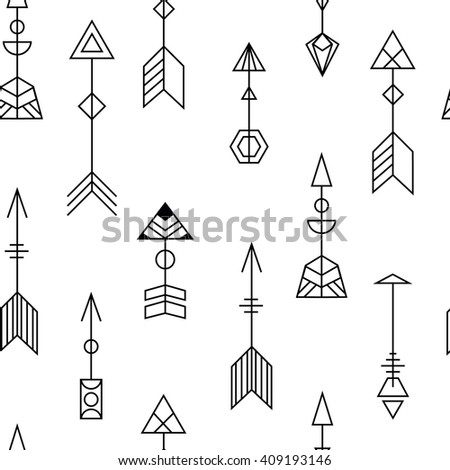 arrows black and white seamless vector pattern. tribal ornate arrows texture