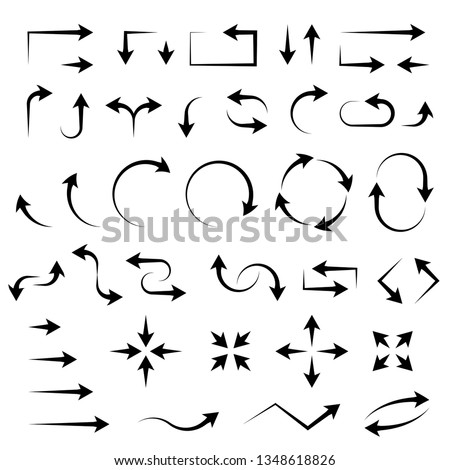 Arrows. Black filigree icons. Vector illustration isolated on white background #1348618826