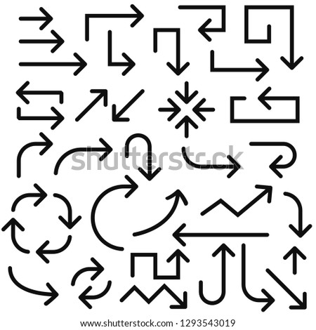 Arrows. Black signs. Vector illustration isolated on white background