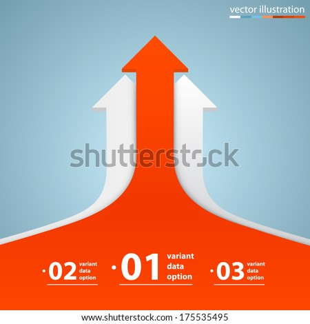 Arrows business growth, Arrow up numbers, Profit red arrow up, Vector infographic illustration