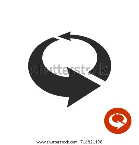 Arrows circle 3D icon. Black vector symbol of perspective volumetric rotate. Rotation sign.