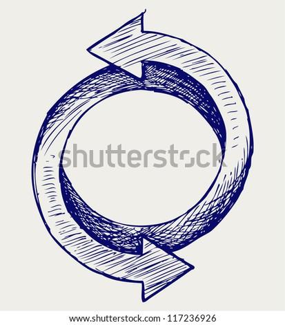 Arrows circle. Doodle style