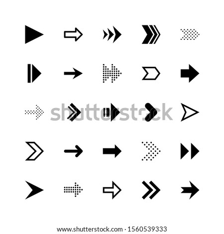 Arrows collection for navigation or loading web buttons. Black arrow as a pointer to turn the cursor forward and down page design recycle icons vector symbol set