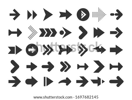 Arrows collection. Modern graphic direction signs computer screen curves arrows vector set