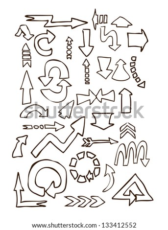 arrows different shape hand draw eps8