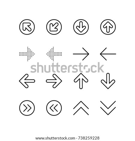 Arrows, direction and navigation icon set