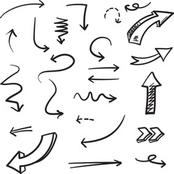 Arrows doodle illustration . Abstract arrows in hand drawn style for concept design. Vector template for decoration