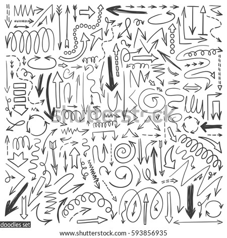 Arrows doodle vector. Set of simple arrow sketches. Business scribble collection. Up, down, left, right drawn elements. Pencil effect sketch isolated on white background.