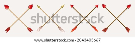 Arrows drawn with a cross obliquely, gold and red tips with feathers Foto stock ©