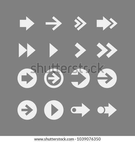 Arrows flat vector icons set