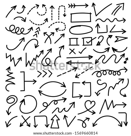 Arrows hand drawn vector set. Sketch arrow design for application, banner, print screen, pen marks, map and typography design guide line.