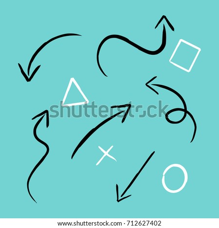 Arrows Hand drawn writed by white chock on blue background. sign element for business planing or school. Vector illustration.