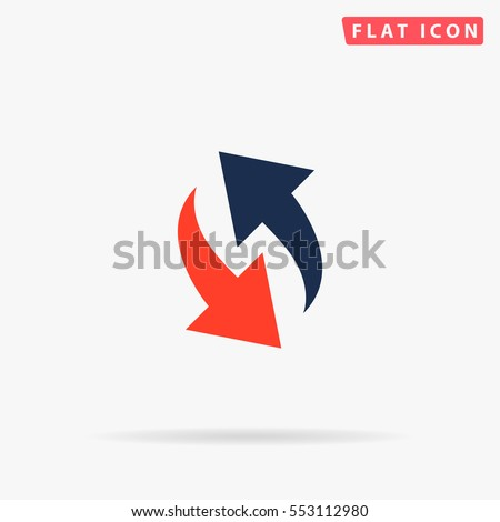 Arrows Icon Vector. Flat color symbol on white background with shadow
