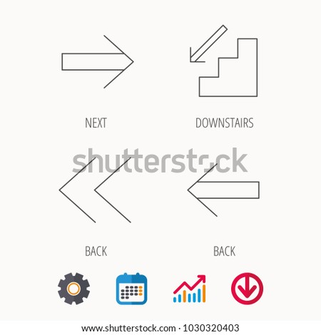 Arrows icons. Downstairs, next and back linear signs. Next, back arrows flat line icons. Calendar, Graph chart and Cogwheel signs. Download colored web icon. Vector