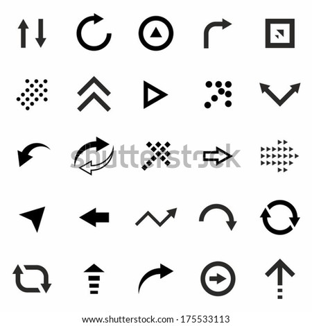 Arrows Icons Set: right, right, left. up, down, around, pixel, back and forth, pointer, navigation. Vector Illustration