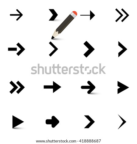 Arrows Icons Set with Pencil Isolated on White Background