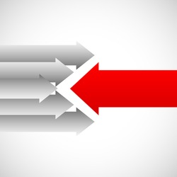 Arrows in opposite directions against each other. Opposition, resistance concepts. Red and white arrows.