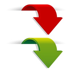 Arrows in red and green color