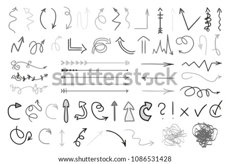 Arrows. Infographic elements on white background. Black symbols for design. Hand drawn simple signs. Line art. Set of different doodles for work #1086531428
