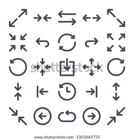 Arrows line icon set. Orientation linear icons. Navigation vector sign.