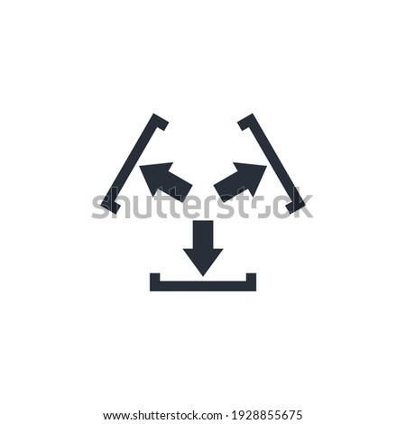 Arrows movement and obstacle. Constraint. Vector Linear Icon Isolated on White Background. Stock photo ©