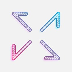 Arrows of four directions, linear icon. Colored logo with diagonal lines and blue-red gradient. Neon graphic, light effect