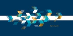 Arrows on background blue and gold geometric composition for card, header, invitation, poster, social media, post publication.