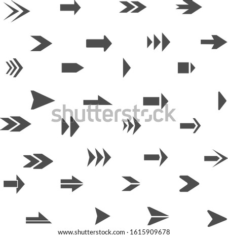 Arrows pointers, direction of movement. Signs of emergency exits, a large set. Vector illustration of pointers. Vector.