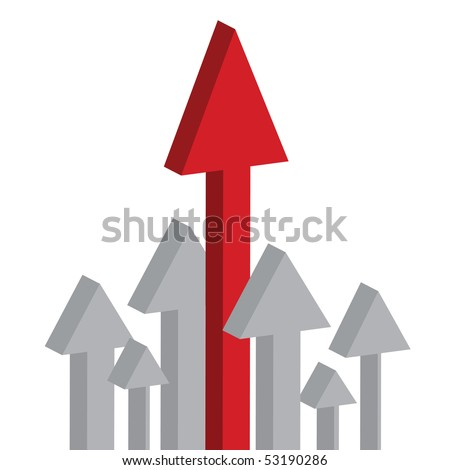 Arrows pointing up, skyrocketing to the sky isolated on white background
