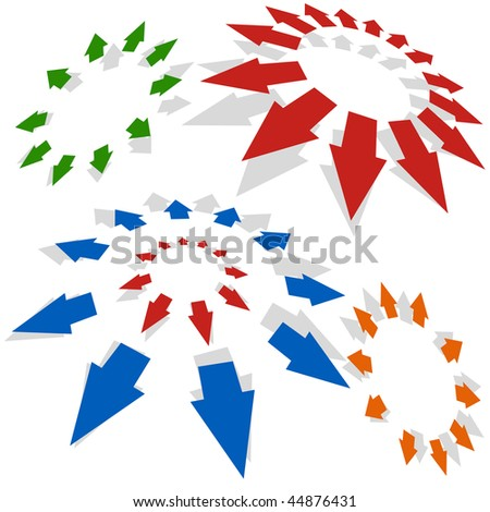 Arrows radiating outward isolated on a white background.