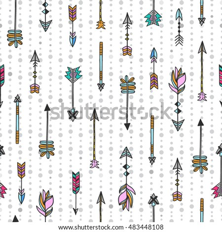 Arrows seamless pattern. Hand drawn arrows vector background. Boho style design elements