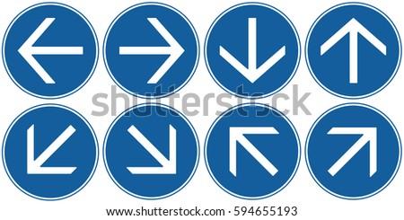 Arrows Set Blue. Vector.